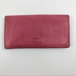Vintage Fossil Pink Leather Long Wallet